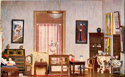 1920s postcard The Morning Room Titania's Palace (Dolls House now in Denmark)