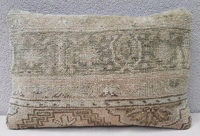 Antique Handwoven Low Pile Muted Color Oushak Ushak Rug Pillow Cover 14''x20''