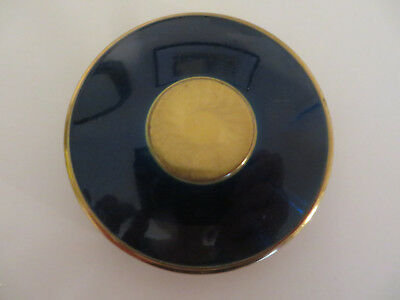 Vintage Genuine Sapphire Hand Cut Powder Compact - Cobalt Blue And Gold