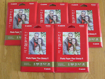 Canon Pixma Photo Paper Plus Glossy II 5x7 (5 packs of 20) PP-201 100 Sheets NEW