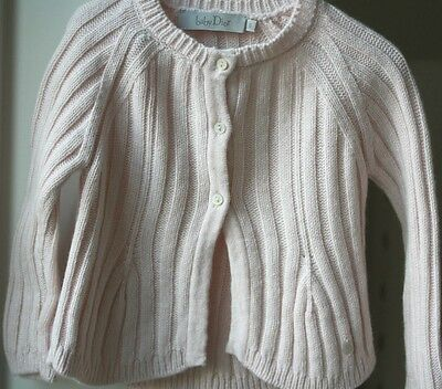 Baby Dior Tricot Knit Pink Knitted Cardigan 6 Months