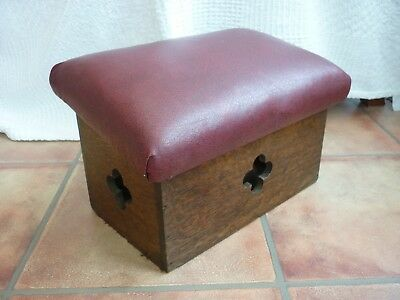 VINTAGE CHURCH PRAYER KNEELING STOOL oak GOTHIC