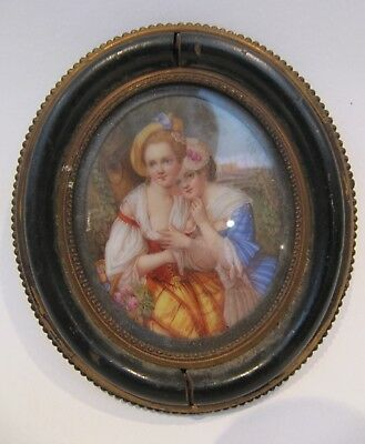 19th CENTURY, Miniature on Porcelain Plaque, TWO YOUNG LADIES IN A 'RISQUE' POSE