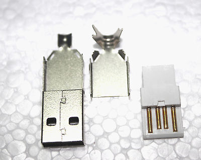 10pcs Type A Rewireable USB Plug Connector 4 Pin Male 3 in 1 Kit Cable Lead