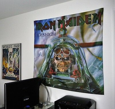 IRON MAIDEN Aces High HUGE 4X4 BANNER poster tapestry cd album eddie cover art