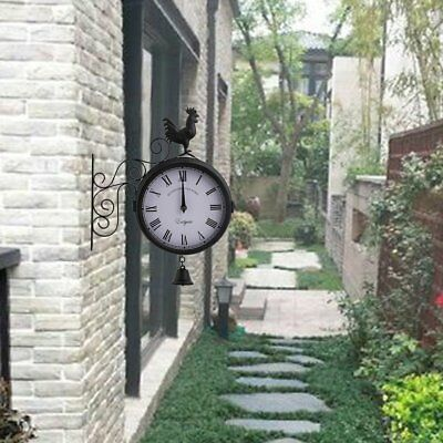 Outdoor Wall Clock  Anti-Rust Roman Numeral Garden Double Sided Vintage Gifts SY