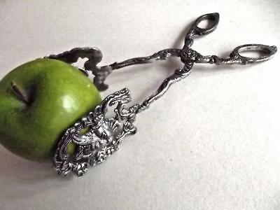 Vintage Ornate Silverplate Pastry Cookies Server Figural Ugly Spooky Scary Face