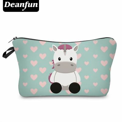 Deanfun Cosmetic Bags 3D Unicorn Printed Necessaries for Women Makeup Heart Poly