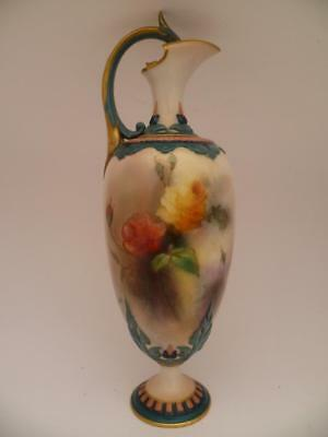 Rare Royal Worcester Hadley Roses  Ewer / Jug Signed By Kitty Blake 1902-1905