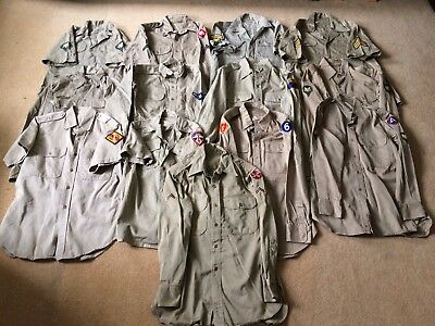 Lot Of 13 U.S Military Fawn Formation Badged Shirts 1940's/50's Korean