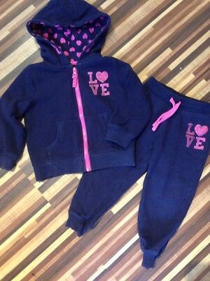 Toddlers Girl Navy Tracksuit Glitter Love Hearts Age 2-3 Years Old