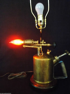 Unusual Ooak Barthell Brass Real Plumbers Soldering Torch Light Lamp Steampunk B