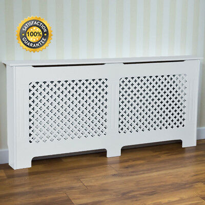 Home Discount Oxford Radiator Cover Traditional White Painted MDF Cabinet,...