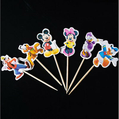 24 X Mickey Minnie Cake Picks  Flags Party Cupcake Decorations Topper kids Set