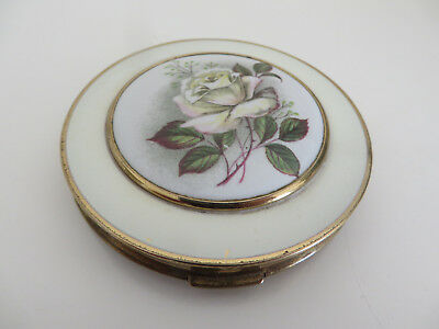 Pretty Vintage Powder Compact Gold Tone And White With Central White Rose