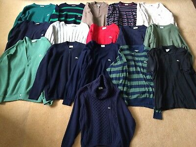 Lot Of 16 Lacoste/Vintage Chemise Lacoste Devanlay Jumpers/Cardigans/Shirts