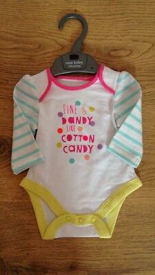 Fine & Dandy Like Cotton Candy Long Sleeved Vest Baby Gift Ex Mothercare Stock.