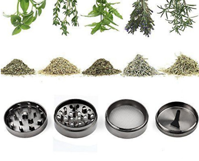 Herb Grinder 4 Part Metal Crusher Pollinator Magnetic Spice  55mm Grey