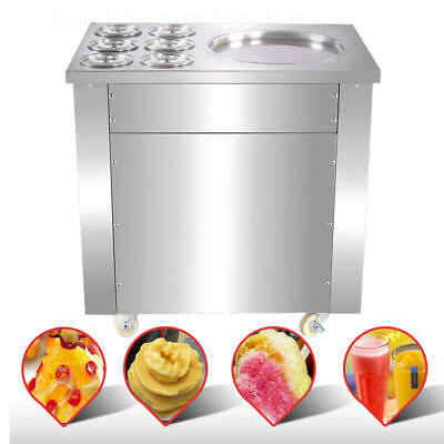 Commercial 220V ice cream roll making machine for sale,one pan with six buckets