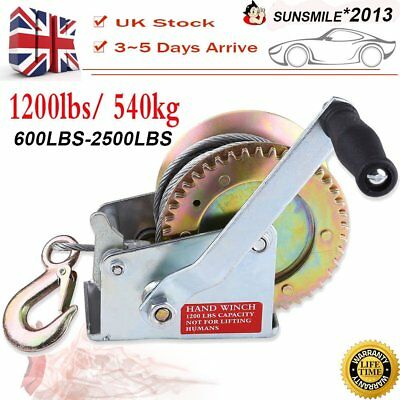 25000LBS 6M&BAND Hand Winch 8M Steel Wire Cable 540KG Gear Crank Hook Trailer UK