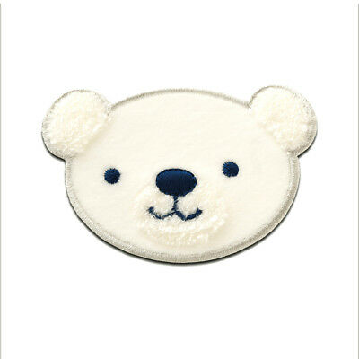 Polar Bear peluche Ecusson patches brode appliques 5x7,9cm blanc