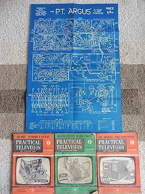 P.T.  Argus T.V. Kit Blueprint And Three Practical Television Magazines.1952