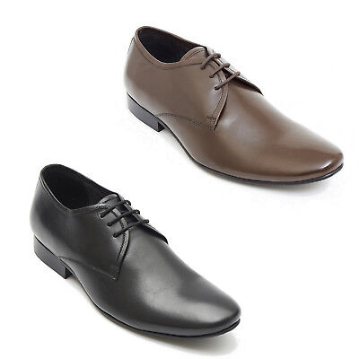 Mens Real Leather Plain Pointed Smart Lace Up Shoes Black & Brown