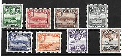Antigua - KGVI stamps - H/Mint -  1938 - First 8 values up to 1s