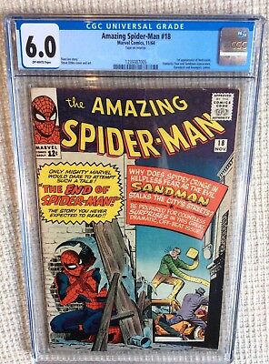 Amazing spider-man # 18 cgc 6.0 Stan Lee 1st Leeds, Avengers Fantastic four came