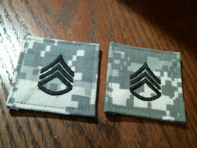 """US Military Army ACU Staff Sergeant  2"""" x 2"""" patch, pair, loop back, New w/o tag"""
