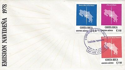 COSTA RICA CHRISTMAS '78, STAR over MAP Sc C729-C731 FDC 1978