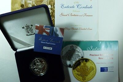 2004 Silver Proof Entente Cordiale £5 Crown Coin GB - France Royal Mint cased