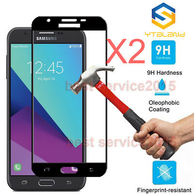 2Pcs Full Cover Tempered Glass Screen Protector For Samsung Galaxy J7 V /J7 Perx