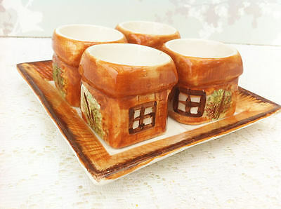 Set of 4 Cottage Ware Eggcups with Tray