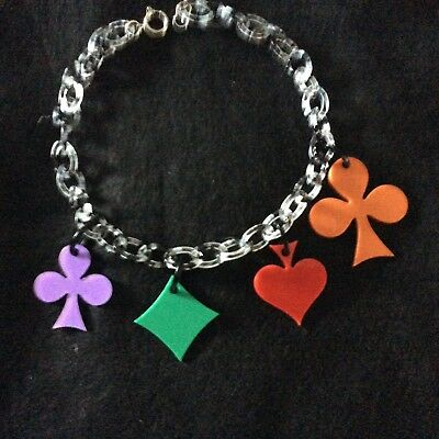 Wonderful French Design Multicolored Resin Playing Cards Charm Necklace