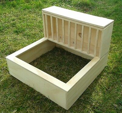 Large pine plywood Rabbit Hay feeder rack and litter tray holder
