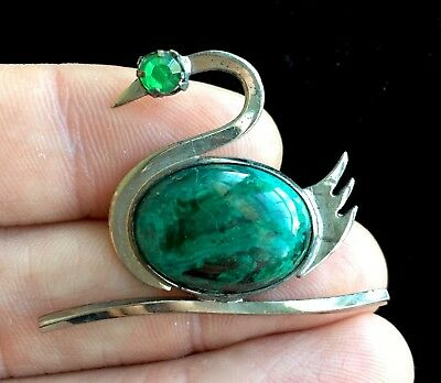 "Vintage WRE Signed Sterling Silver Green Gemstone Swan Brooch 1 1/2"" S101"