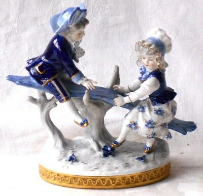 C20Th Rudolstadt Volkstedt Figure Of Children On A See Saw