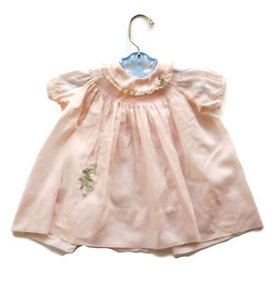 Vintage Nanette Smocked Baby Dress Pink  Mid Century Infant Toddler 6 - 12 M
