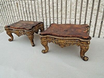 Pair Victorian Antique Cast Iron Footstool old paint original boards