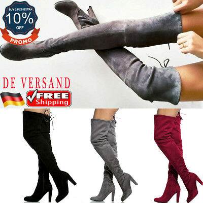 Damen Party Schuhe Zip Schnür High Heels Blockabsatz Overknee Stiefel Mode Boot