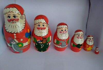Vintage Russian Doll Hand Painted Father Christmas Santa