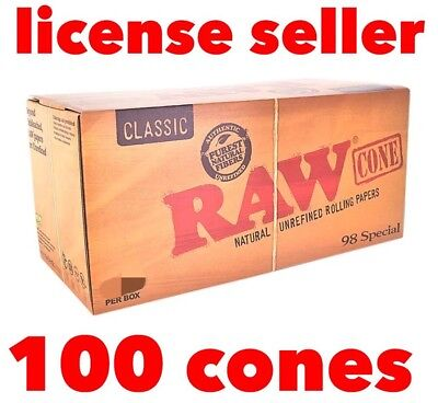 RAW classic 98 special Prerolled CONES Natural Rolling Papers w Tips(100 packs)