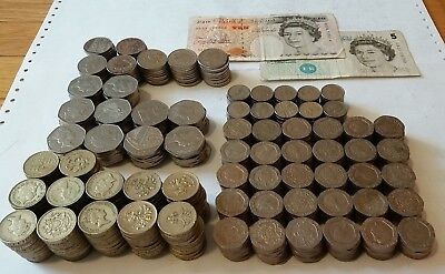 257 British pound coin and currency lot