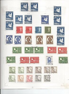 SWEDEN STAMP COLLECTION -c1930's-90's - 55 loose album pages