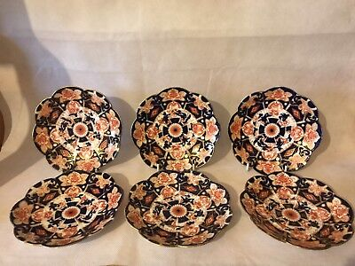 SUPERB SET OF 6 VINTAGE IMARI PATTERN WILEMAN SAUCERS  L@@k !!!