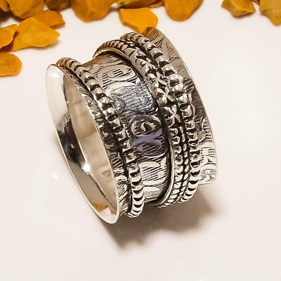 Fascinating Spinner Handmade Ethnic Style 925 Sterling Silver Ring Size 8