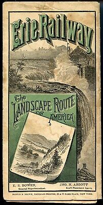 RAILROAD TIMETABLE ERIE RAILWAY NY LAKE ERIE & WESTERN R.R WITH MAP 1882 or 1883