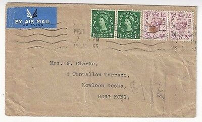 1953 Great Britain KGVI & QEII Mixed Issue to Kowloon Docks, Hong Kong