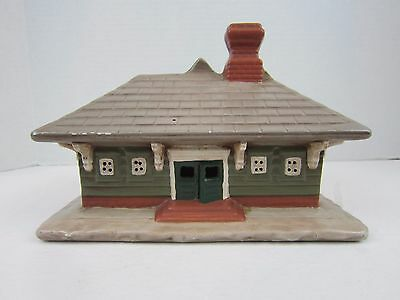 Train Station Model Building Ceramic Hand Painted